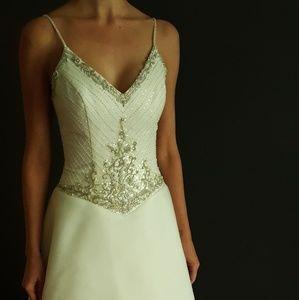 Beaded Bodice Chiffon A-line Wedding Dresd
